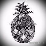 Классный пример эскиза татуировки АНАНАС – рисунок подойдет для тату ананас на бедре