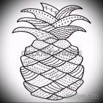 Крутой вариант эскиза татуировки АНАНАС – рисунок подойдет для тату ананаса на ноге