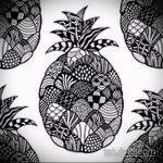 Классный пример эскиза наколки АНАНАС – рисунок подойдет для тату ананас на руке