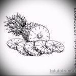 Интересный вариант эскиза наколки АНАНАС – рисунок подойдет для тату ананас на запястье