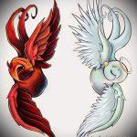Уникальный пример эскиза наколки ангел и демон – рисунок подойдет для тату ангел и демон на ноге