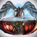 Прикольный пример эскиза тату ангел и демон – рисунок подойдет для тату спине крылья ангела и демона
