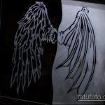 Зачетный пример эскиза татуировки ангел и демон – рисунок подойдет для тату ангел демон плечах