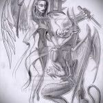 Оригинальный вариант эскиза тату ангел и демон – рисунок подойдет для тату ангел и демон на руке