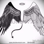 Уникальный вариант эскиза тату ангел и демон – рисунок подойдет для тату ангел и демон мужские