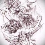 Оригинальный вариант эскиза наколки ангел и демон – рисунок подойдет для тату на спине ангел и демон
