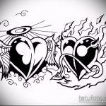 Классный пример эскиза татуировки ангел и демон – рисунок подойдет для тату ангел и демон на лопатках