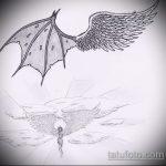Прикольный вариант эскиза наколки ангел и демон – рисунок подойдет для тату ангел и демон на плече