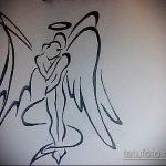 Оригинальный пример эскиза татуировки ангел и демон – рисунок подойдет для тату близнецы ангел и демон