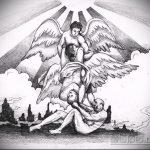 Крутой пример эскиза тату ангел и демон – рисунок подойдет для тату ангел и демон на ноге