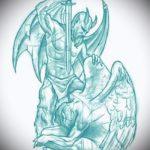 Уникальный вариант эскиза тату ангел и демон – рисунок подойдет для тату ангел и демон на лопатках