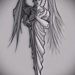 Интересный вариант эскиза татуировки ангел и демон – рисунок подойдет для тату ангел и демон в одном