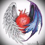 Прикольный пример эскиза наколки ангел и демон – рисунок подойдет для тату ангел и демон на руке
