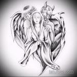 Зачетный вариант эскиза наколки ангел и демон – рисунок подойдет для тату близнецы ангел и демон