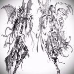 Крутой вариант эскиза татуировки ангел и демон – рисунок подойдет для тату ангел и демон на весах