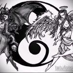 Интересный вариант эскиза наколки ангел и демон – рисунок подойдет для тату борьба ангела демона