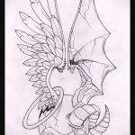 Уникальный вариант эскиза татуировки ангел и демон – рисунок подойдет для тату ангел и демон девушки
