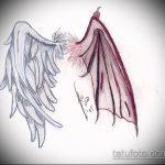 Оригинальный пример эскиза наколки ангел и демон – рисунок подойдет для тату ангел и демон на запястьетату ангел и демон на спине