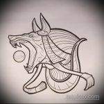 Интересный вариант эскиза татуировки Анубис – рисунок подойдет для тату анубис в цвете