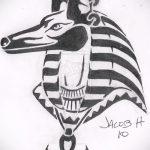 Уникальный вариант эскиза татуировки Анубис – рисунок подойдет для тату анубиса на руке