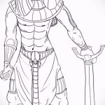 Интересный вариант эскиза наколки Анубис – рисунок подойдет для тату анубис амон ра