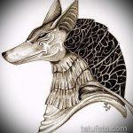 Прикольный пример эскиза татуировки Анубис – рисунок подойдет для тату анубис и гор