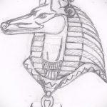 Оригинальный вариант эскиза наколки Анубис – рисунок подойдет для тату анубис на плече