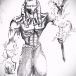 Оригинальный вариант эскиза татуировки Анубис – рисунок подойдет для тату анубис на руке