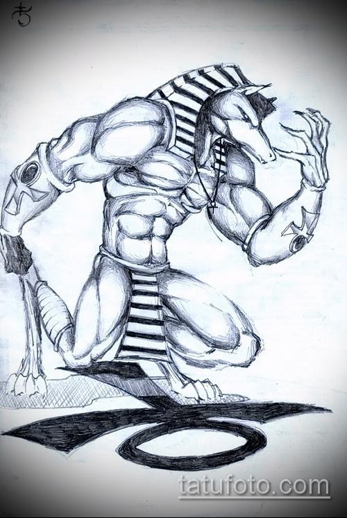 Интересный вариант эскиза наколки Анубис – рисунок подойдет для тату анубиса на руке