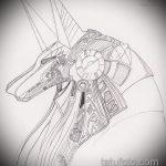 Прикольный вариант эскиза татуировки Анубис – рисунок подойдет для тату анубис в цвете