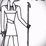 Уникальный вариант эскиза наколки Анубис – рисунок подойдет для тату анубис на шее