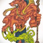 Зачетный вариант эскиза наколки Анубис – рисунок подойдет для тату анубис и ра значение