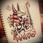 Оригинальный пример эскиза тату Анубис – рисунок подойдет для tattoo anubis