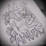Оригинальный вариант эскиза наколки Анубис – рисунок подойдет для тату анубис и гор