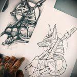 Уникальный пример эскиза тату Анубис – рисунок подойдет для тату анубис в полный рост