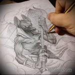 Зачетный вариант эскиза наколки Анубис – рисунок подойдет для тату анубис на шее