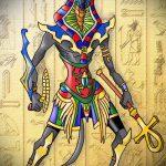 Оригинальный вариант эскиза наколки Анубис – рисунок подойдет для тату анубис и бастет
