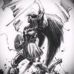 Крутой вариант эскиза тату Архангел Михаил – рисунок подойдет для тату архангел михаил с мечом