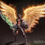 Оригинальный пример эскиза наколки Архангел Михаил – рисунок подойдет для тату архангела михаила на плече