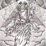 Уникальный вариант эскиза тату Архангел Михаил – рисунок подойдет для тату архангела михаила с мечом