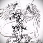 Классный пример эскиза татуировки Архангел Михаил – рисунок подойдет для тату архангела михаила с щитом