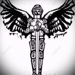 Интересный пример эскиза наколки Архангел Михаил – рисунок подойдет для тату архангел михаил на спине