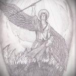 Зачетный пример эскиза татуировки Архангел Михаил – рисунок подойдет для тату архангел михаил надпись