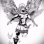 Крутой вариант эскиза наколки Архангел Михаил – рисунок подойдет для тату архангел михаил онлайн