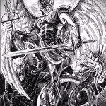 Прикольный вариант эскиза тату Архангел Михаил – рисунок подойдет для архангел михаил тату на спине