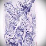 Уникальный пример эскиза наколки Архангел Михаил – рисунок подойдет для архангел михаил тату на руке