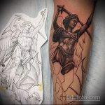 Прикольный пример эскиза татуировки Архангел Михаил – рисунок подойдет для тату архангел михаил с мечом