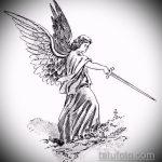 Уникальный вариант эскиза татуировки Архангел Михаил – рисунок подойдет для тату архангел михаил на спине