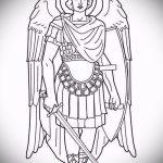Классный вариант эскиза тату Архангел Михаил – рисунок подойдет для тату архангела михаила с щитом