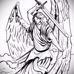 Зачетный пример эскиза наколки Архангел Михаил – рисунок подойдет для тату архангела михаила с мечом